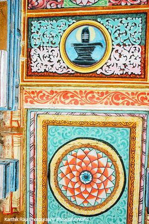 Paintings on the ceiling of the Adi Kumbeswarar Temple, Kumbakonam, India
