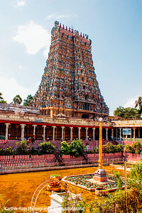 South Gopuram with the Golden Lily Tank, Meenakshi temple, Madurai, India
