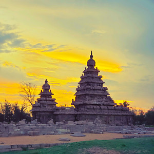 Shore Temple in Sunrise, Mahabalipuram, Tamil Nadu, India