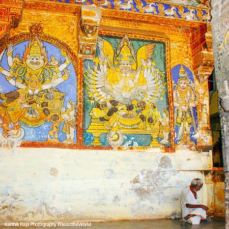 Ancient vegetable dye frscoes, Sri Ranganathaswamy Temple, Srirangam, Tiruchirapalli (Trichy)