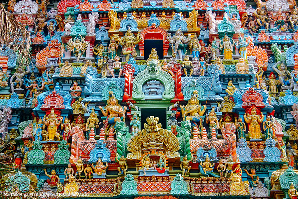 Sculptures on the gopuram, Sri Jambukeshwarar Akilandeswari Temple, Thiruvanaikoil, Srirangam, Tiruchirapalli (Trichy)