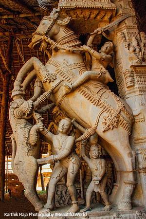 Intricate horse carving, Sri Ranganathaswamy Temple, Srirangam, Tiruchirapalli (Trichy)