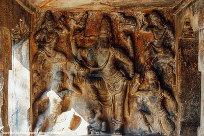 Pallava cave carving of Gangatharamoorthy, Rock Fort, Tiruchirapalli (Trichy)