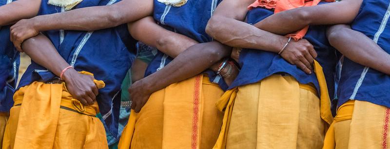 Kanker, Chhattisgarh, India. Male Gond dancers detail.