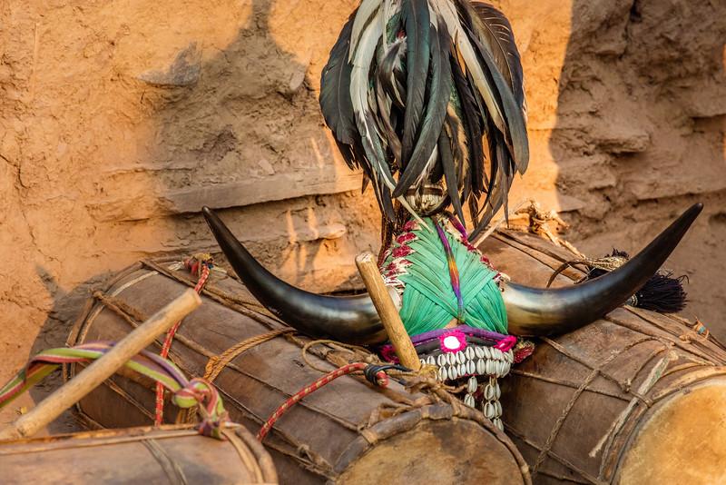 Naener, Baster, Chhattisgarh, India. Maria (Bison Horn) tribal dance gear.