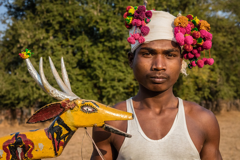 Bade Themali, Kanker, Chhattisgarh, India. A Muria tribal dancer with a wooden puppet used in his dance. The Muria tribe is also known as the Deer Horn tribe.