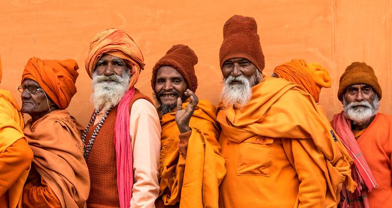 Haridwar, India. Geeta Ashram. Sadhus wait patiently in line for the ashram dinner.