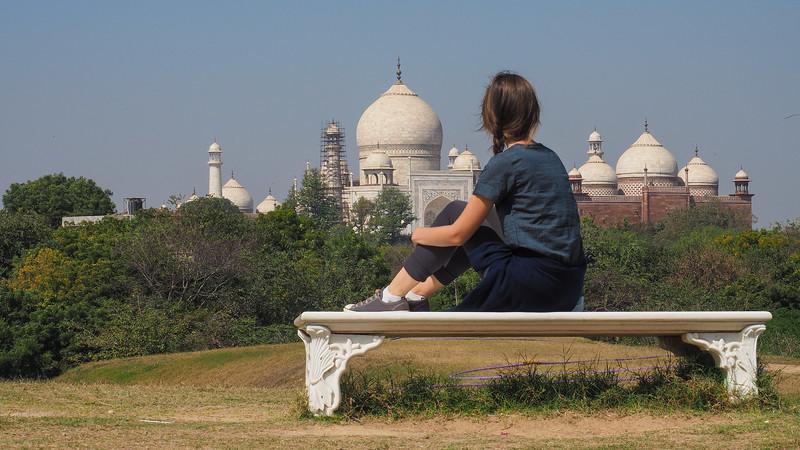 Views of the Taj Mahal from the Taj Forest Walk.