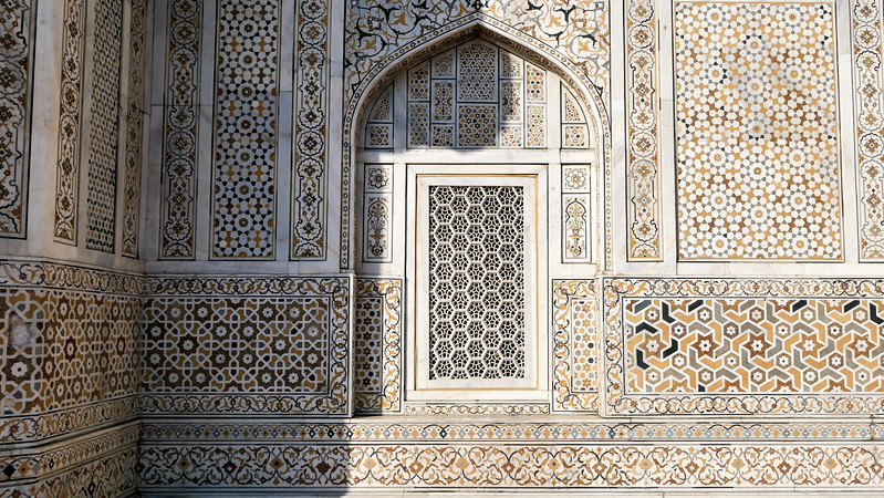 Geometric patterns and precious stones on the Baby Taj