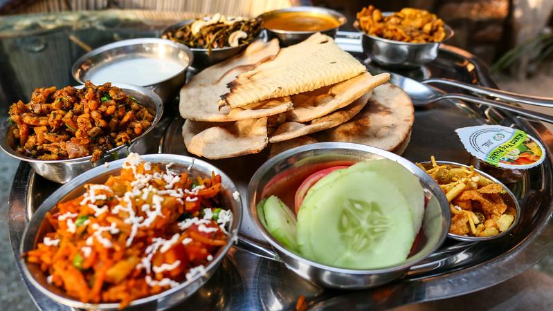 Eating a Rajasthani Thali in Jodhpur, India.