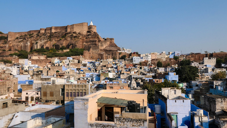 Views of Mehrangarh Fort as seen from our hotel.