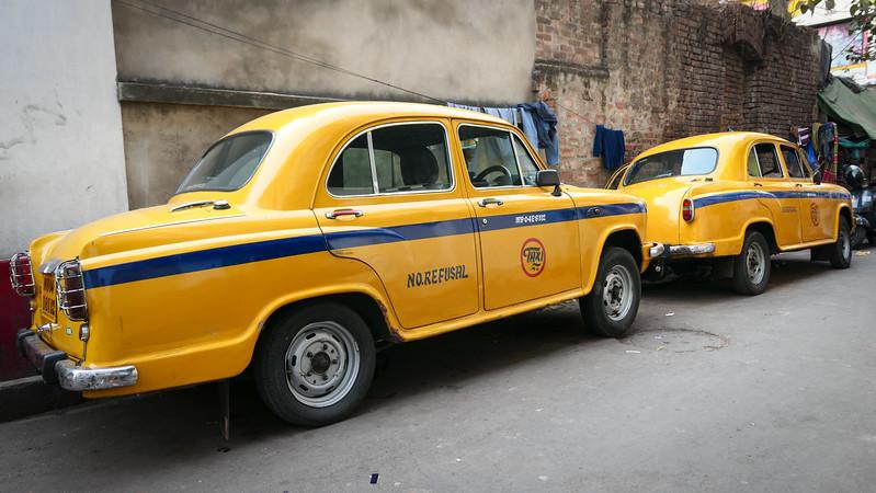 Yellow cabs in Kolkata.