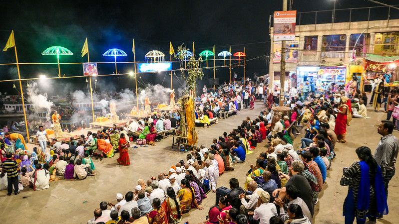 Watching the Ganga Aarti ceremony on Dashashwamedh Ghat in Varanasi.