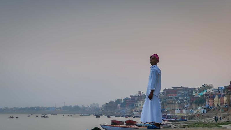 Man watching the sunset in Varanasi