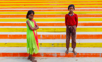 Children on Steps of Ghat