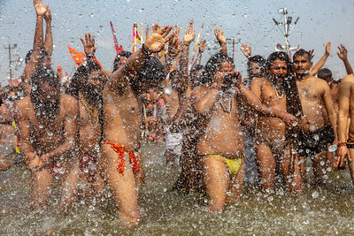 Holy ritual of bathing in the Ganges River on the auspicious day - sometimes bit carried away.