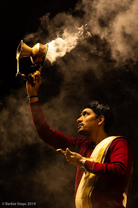 The Aarti ceremony held each night along the Ganges river in Varanasi.