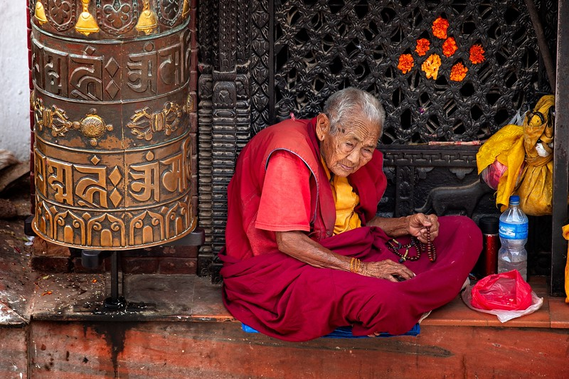 Elderly Buddhist Monk, Boudhanath Stupa, Kathmandu
