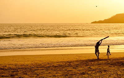 Cricket at sunset, Goa, India