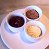 Peanut butter, jam, and butter at breakfast (Rokeby)
