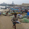 Kanyakumari, India, early morning, as the fishing boats come in with their catch.