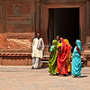 Colorfully dressed women visiting the Red Fort, Agra, India