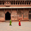 Visitors to the Red Fort, Agra, India
