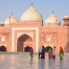 Walking Past the Mosque at Taj Mahal