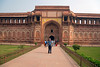 Agra Fort and Alan on our 50th Wedding Anniversary