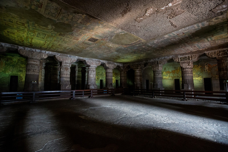 The Ajanta Caves in the Aurangabad district of Maharashtra, India are 30 rock-cut Buddhist cave monuments which date from the 2nd century BCE to about 480 or 650 CE.  The caves were carved out of solid stone in two phases starting around the 2nd century BCE, with the second group of caves built around 400–650 CE.