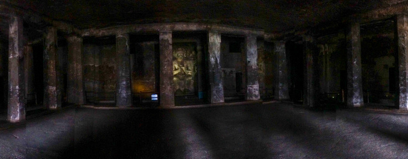 The Ajanta Caves (Ajiṇṭhā leni; Marathi: अजिंठा लेणी) in Aurangabad district of Maharashtra, India are about 30 rock-cut Buddhist cave monuments which date from the 2nd century BCE to about 480 or 650.