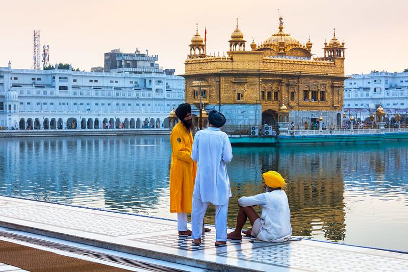Sikhs in Golden Temple (Harmandir Sahib), Amritsar, Punjab, India, Sikh, Sikhism, religion, architectural, architecture, building, edifice, place of worship, religion, religious building, sikhs, conversation, guard, warrior, shrine, sacred
