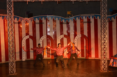 Artists performing inside dome theatre at Ramoji film city Hyderabad India