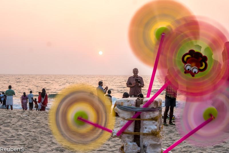 Wind fans on Andhakaranazhi beach, Kerela
