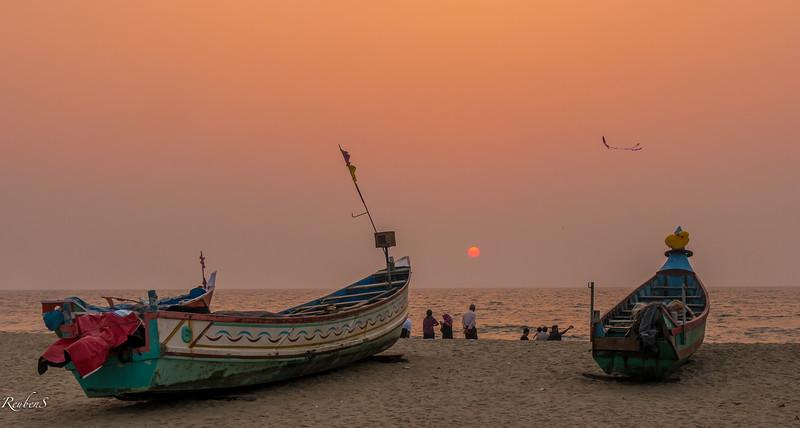Sunset on Andhakaranazhi beach