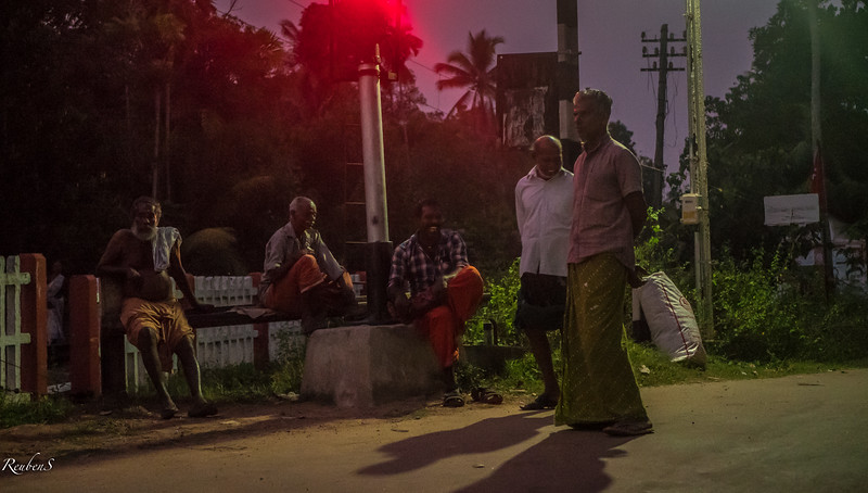 Villagers at railway crossing, Kodamthuruth, Kerela