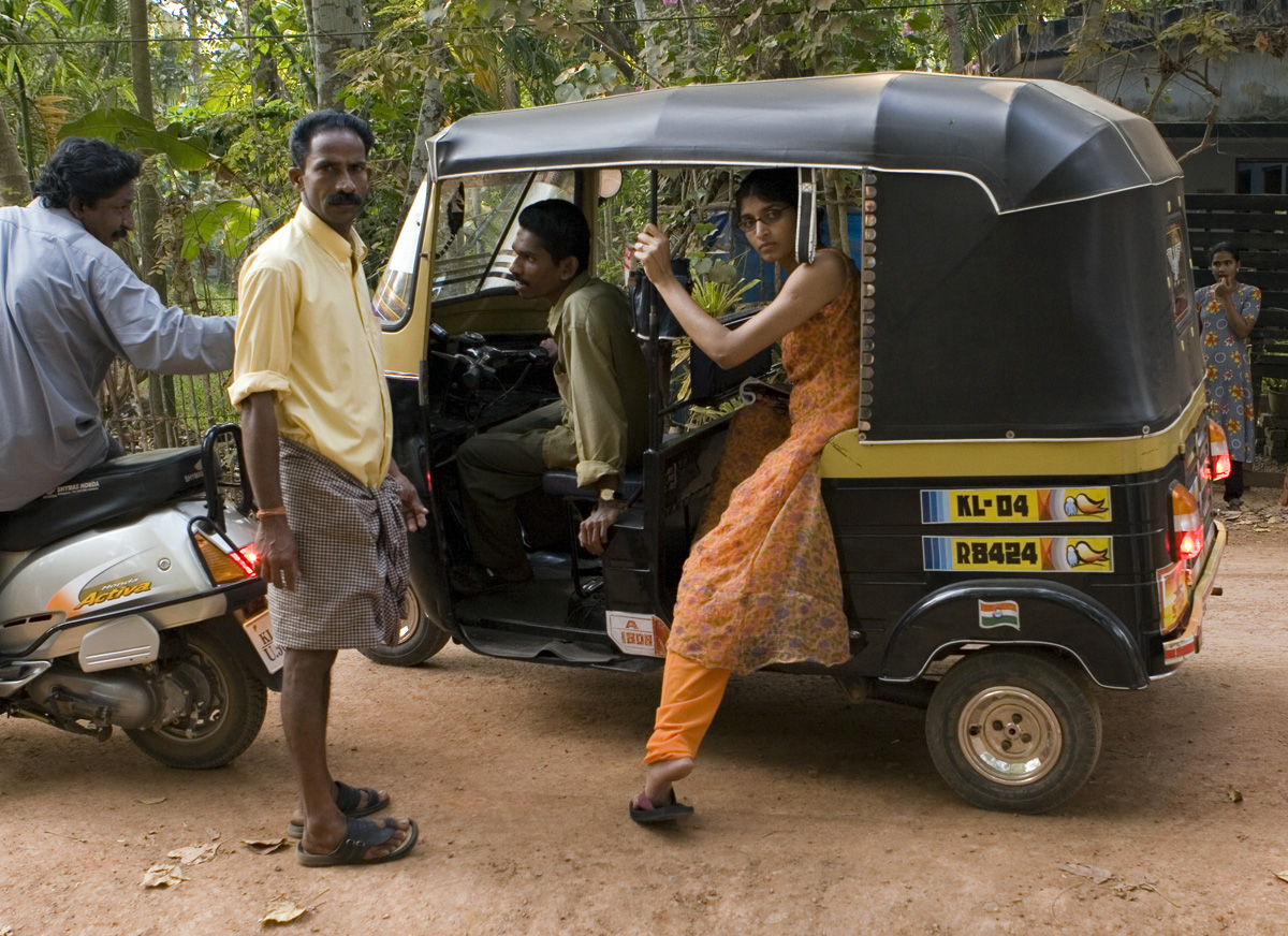 taking a rickshaw back to the hotel.