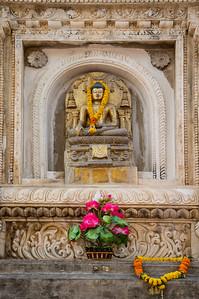 Buddha image at the main Mahabodhi Mahavihara temple, Bodhgaya, Bihar, India.