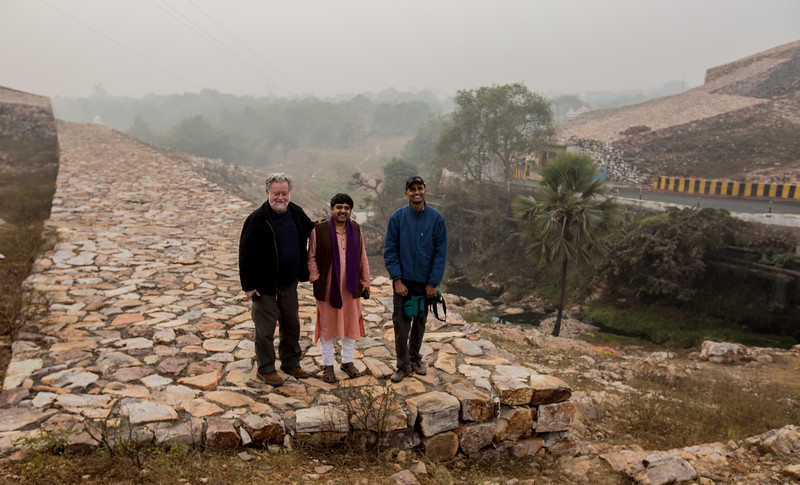 Tom Jones, Debashish Nayak and Deepak Annand on a Sixth Centruy fort wall at Rajgriha, Nalanda, India
