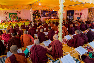 Monks and Nuns from Myranmar participate in the Tipitaka Chanting Ceremony at Bodh Gaya.