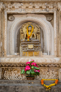Buddha image at the main Mahabodhi Mahavihara temple, Bodhgaya, Bihar, India.