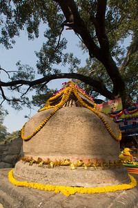 Small stupa in the main Mahabodhi Mahavihara Temple in Bodhgaya, India.