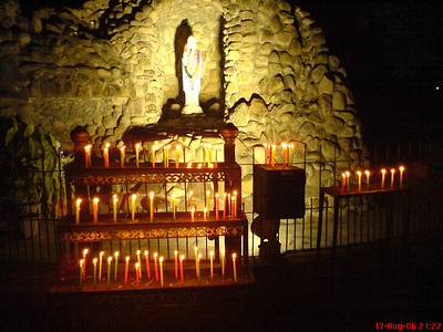 Lighted Candles and Virgin Mother Mary