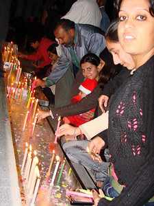 Lighting candles at Christmas as a symbol of the birth of Christ