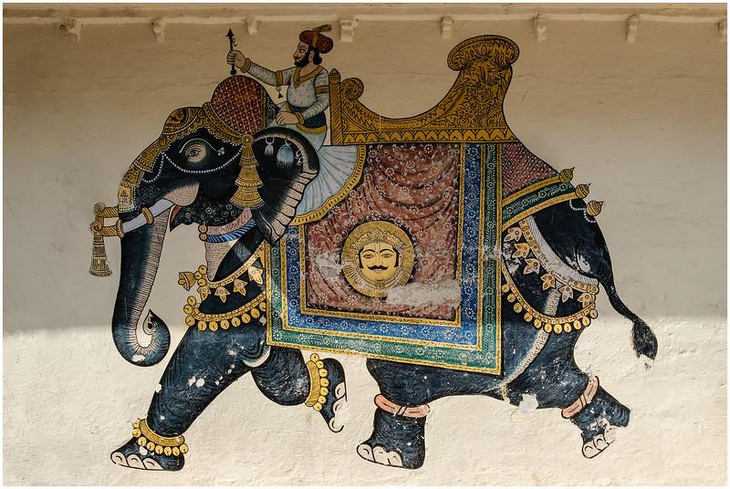 Painting Of Maharaja On Elephant