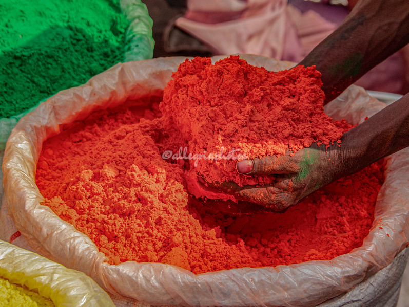 A sack of paint powder for the Holi Festival