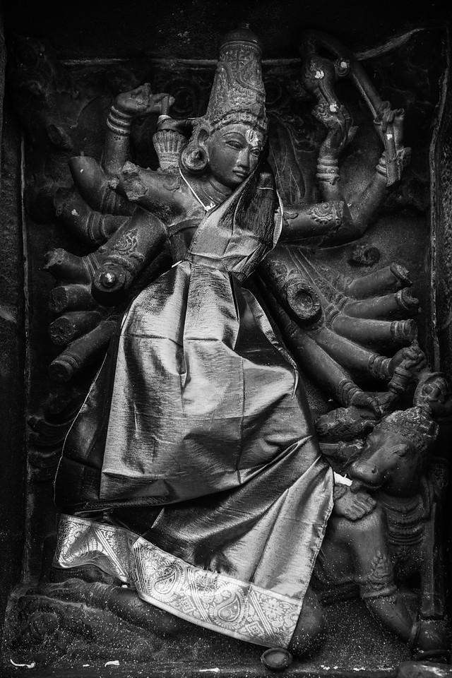 Durga Statue with Red Covering, Nataraja Temple, Chidambaram, Tamil Nadu