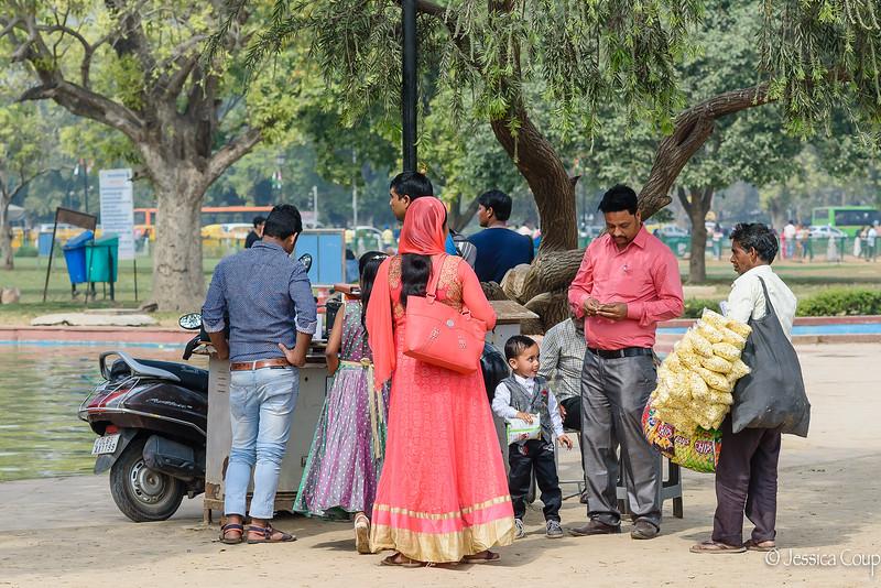 Grabbing Snacks at the India Gate Park