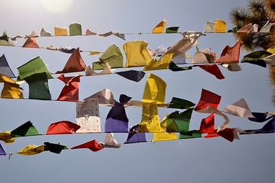 prayer flags flying in the sky