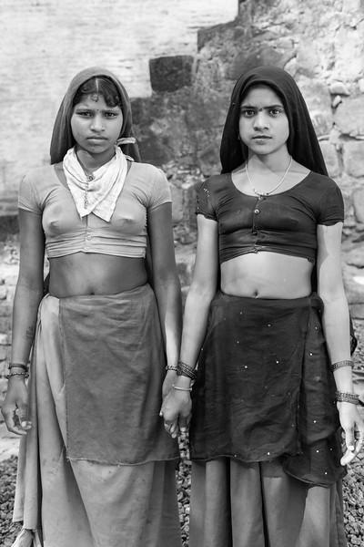 Two Girls Working on a Construction Site, Maheshwar, Madhya Pradesh